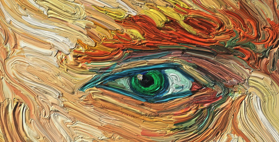 eye close-up in the manner of Vincent Van Gogh