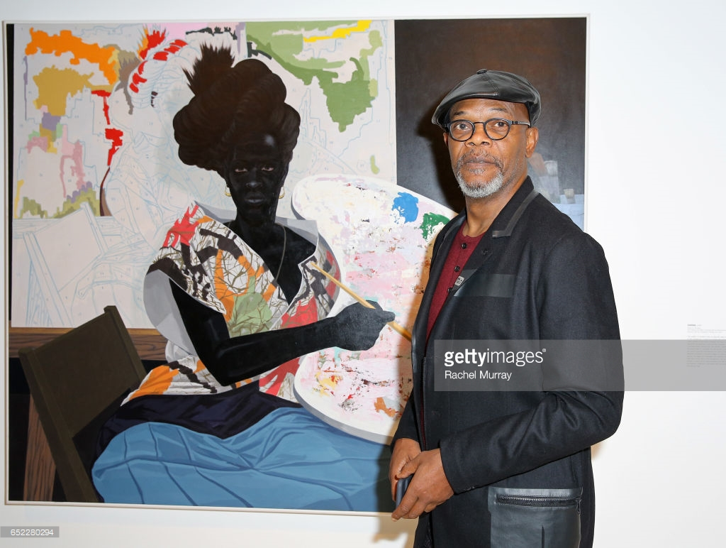 Samual L. Jackson with panting by Kerry James Marshall