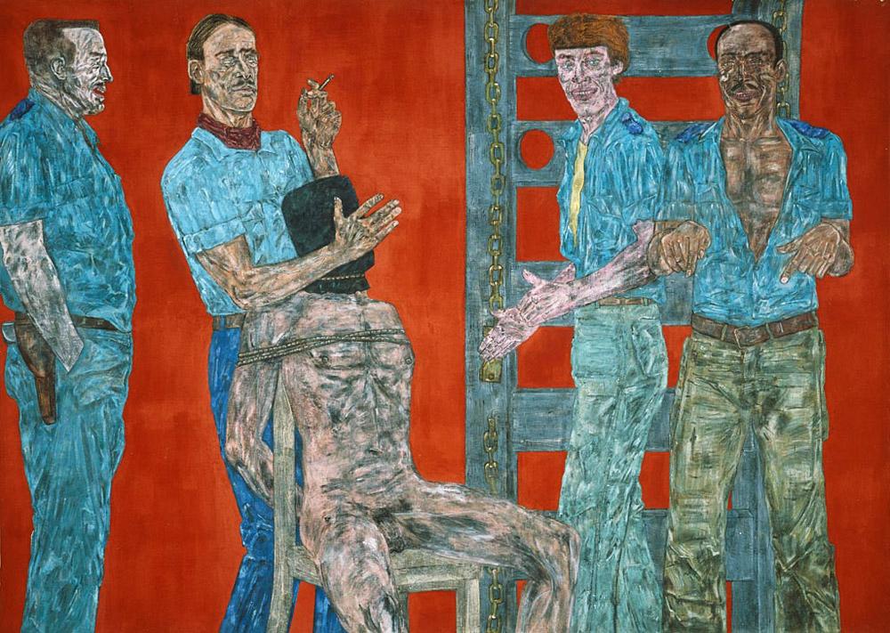 Leon Golub Interrogation 1 painting