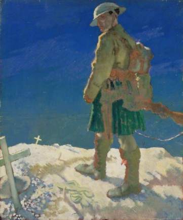 Orpen, William, 1878-1931; A Highlander Passing a Grave