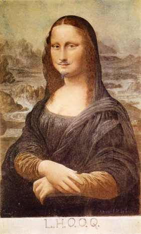 Duchamp's mustachioed Mona Lisa.