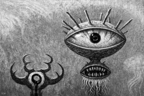 """The drawing, """"Splinter-Eye (Alien Messiah)"""""""