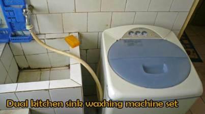 dual kitchen sink and washing machine set