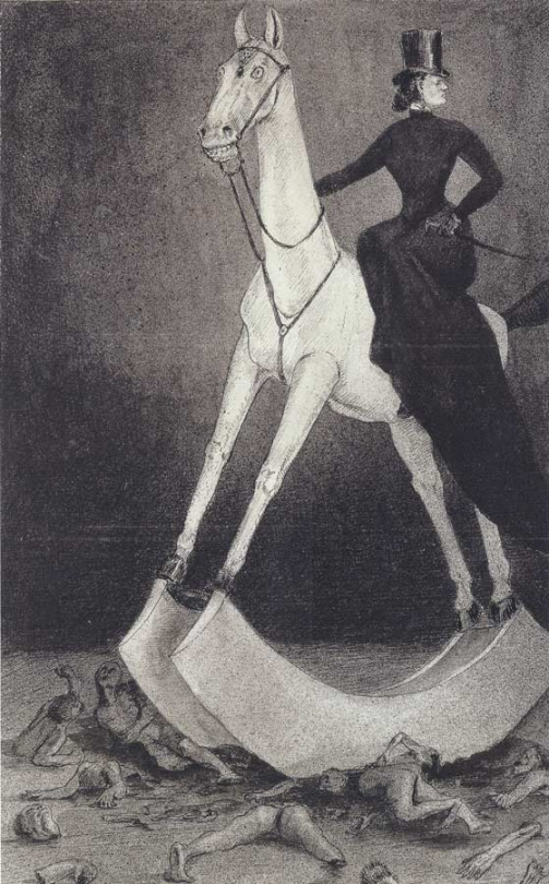 Lady on the Horse (Alfred Kubin, 1938, Pen and ink, wash, and spray on paper