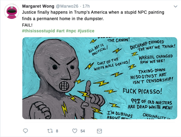 NPC head tweet painting