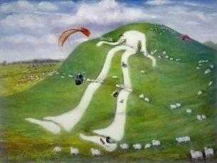 """the well-worn track of the average sheep probably forced the black sheep to think up a better way of getting around the hill. The tall white man was inspired by the chalk figures on hills in England , one being 'The Long Man'."""