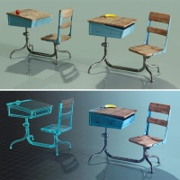Final Vintage School Desk in Blender, 2  versions